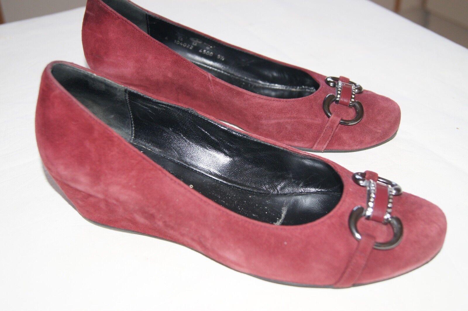 Chaussures compensées femme Nubuck Bordeaux