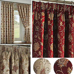 Image Is Loading Kensington Pencil Pleat Lined Thick TAPESTRY Curtains Cushions