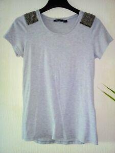 Ladies-Short-Sleeve-Beaded-Classic-Top-T-shirt-Grey-Size-M
