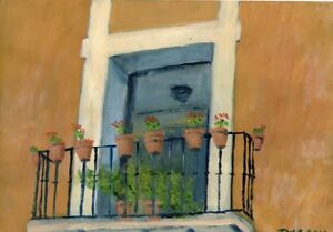 Terry-George-painting-of-a-balcony-in-Seville-Spain