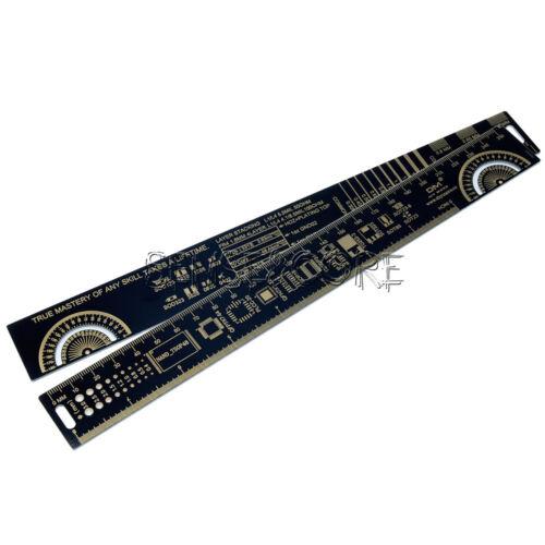 25cm Multifunctional PCB Ruler Measuring Tool Resistor Capacitor Chip IC Black