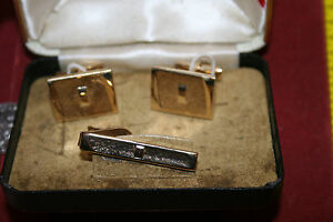Antique Hickok Men/'s Cuff Link Tie Bar Original Case