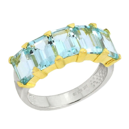 De Buman Two-tone Sterling Silver Rectangle Sky Blue Topaz Noble Ring Size 7