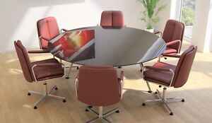 Sven Diam Seat Round Glass Boardroom Conference Meeting - Glass boardroom table