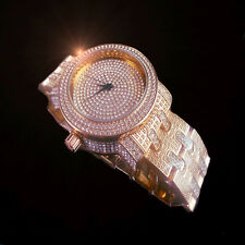 ICED OUT MEN TWO TONE ROSE GOLD G/P LAB DIAMOND ICEMASTER METAL BAND WRIST WATCH