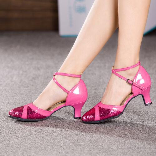 Vogue Glitter Modern Shoes Ballroom Latin Dance Tango Waltz Shoes Rosy Sandals