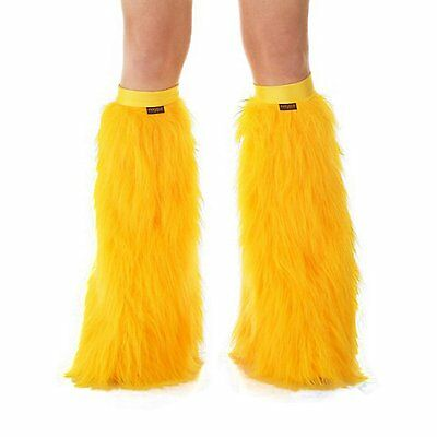 TrYptiX Yellow Gold Boot Cover Leg Warmers Rave Fluffies / Yellow Band EDC UMF