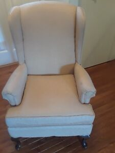 Astounding Details About Queen Anne Ivory Fabric Vintage Wingback Arm Chair Cherry Wood Legs Theyellowbook Wood Chair Design Ideas Theyellowbookinfo