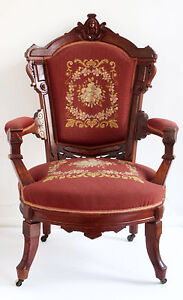 Walnut-amp-Burl-Victorian-Renaissance-Revival-Arm-Chair-c1875-With-carved-head