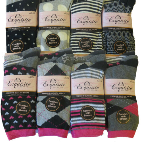 6//12 femmes qualité premium designer coton chaussettes comfort avec stretch taille 4-7