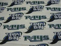Mlb Tampa Bay Rays White Cotton Baseball Fabric 18 Inches X 28 Inches