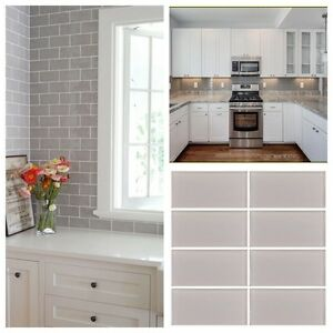 3 X6 Taupe Crystal Glass Subway Tile For Kitchen Bathroom Shower