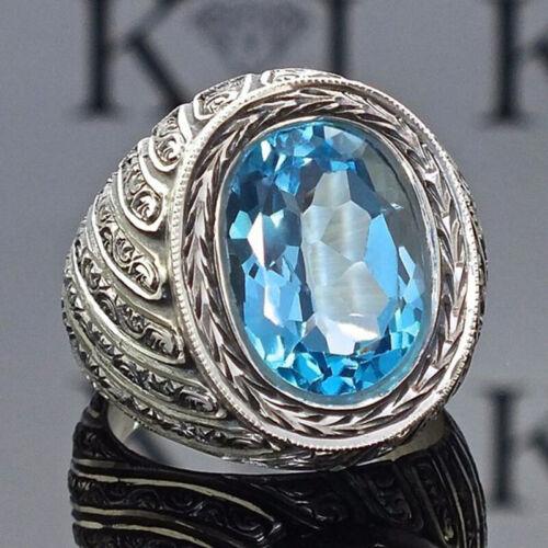 Aigue-Marine Bleu Stone Ring 925 Bande Argent Femmes Hommes cadeau mariage fiançailles