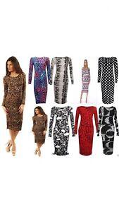 New-Womens-Ladies-Celeb-Long-Sleeve-Animal-Print-Stretchy-Bodycon-Midi-Dresses