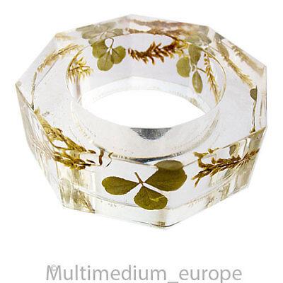 DemüTigen 6 Vintage Serviettenringe Kleeblatt Acrylglas Plexiglas Napkin Ring ????????????????????