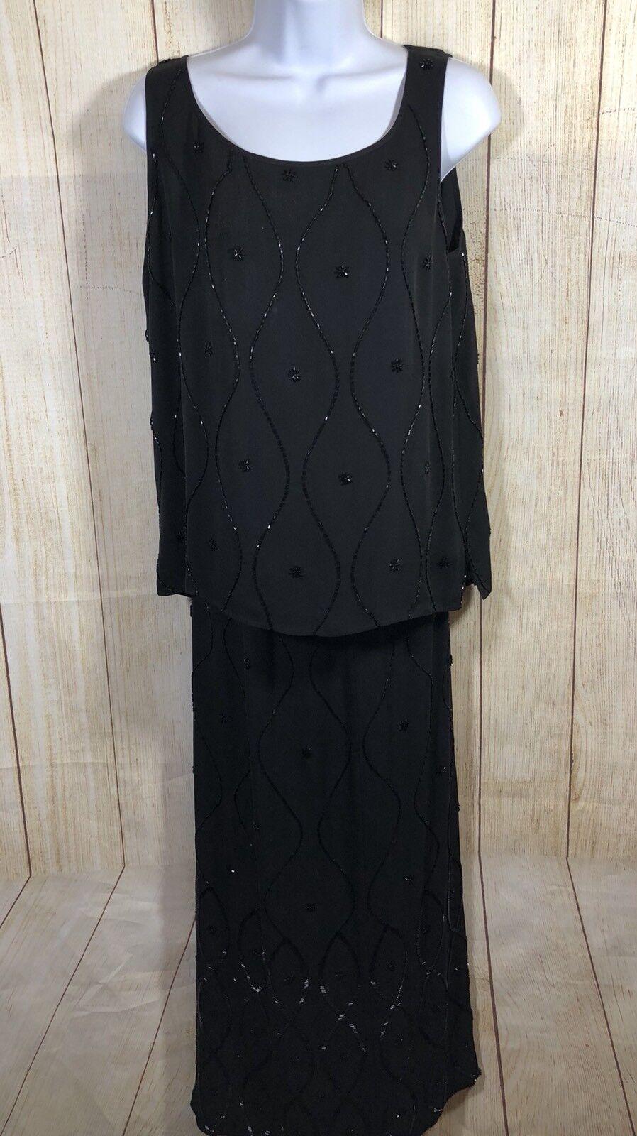 DONCASTER NWT 100% Silk schwarz 3 Piece Beaded Evening Dressy Ensemble Größe 8