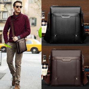 US-Men-039-s-Leather-Shoulder-Bag-Messenger-Bags-Crossbody-Handbag-Work-Briefcase