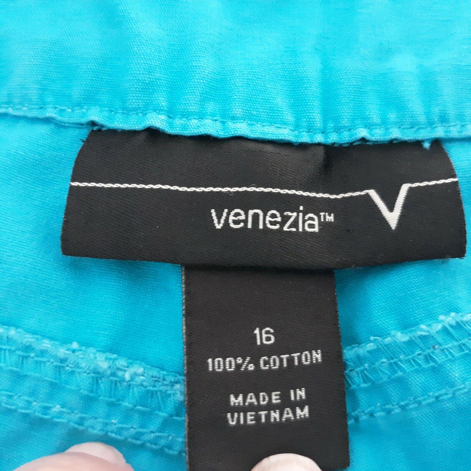 Venezia Turquoise Blue Cargo Capri Pants Women's … - image 4