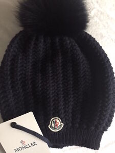 Image is loading Moncler-Beanie-Waffle-Hat-Hats-Women-Navy-NEW- 1add90eecd0