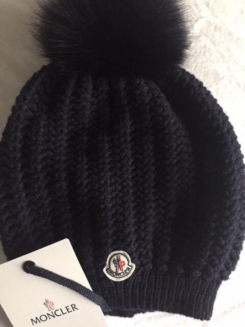 df431410eea514 Moncler Beanie Waffle Hat Hats Women Navy NEW $350 | eBay