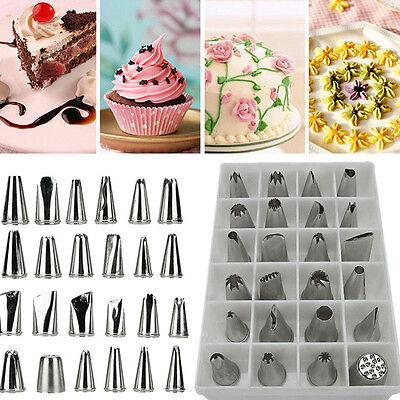 24Pcs Icing Piping Nozzles Pastry Tips Cake Sugarcraft Decorating Bakery Tools R