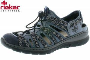 Details zu Rieker Damen Schnürer Blau Schuhe durchbrochen Sommer L32P8 14