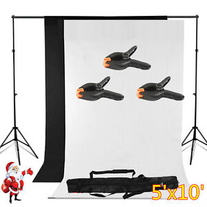 5' x 10' Photography Backdrop Stand Background Photo Kit Muslin Black& White USA
