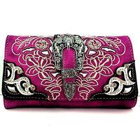Western Cowgirl Rhinestone Buckle Purple Cross Body Wristlet Wallet Strap