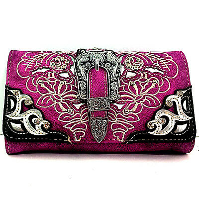Western Cowgirl Rhinestone Buckle Purple Cross Body Wristlet Wallet Strap