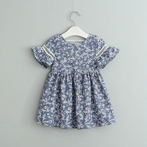 Floral Printed Kids Girls Dresses Flare Sleeve Baby Girl Dress  Deep Dress
