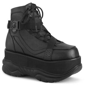 Demonia NEPTUNE-181 Men's Black Goth Punk Techno Platform Lace-Up Ankle Boots