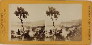 Costa Amalfi Napoli Italia Foto Stereo Th2n53 Vintage Albumina c1875