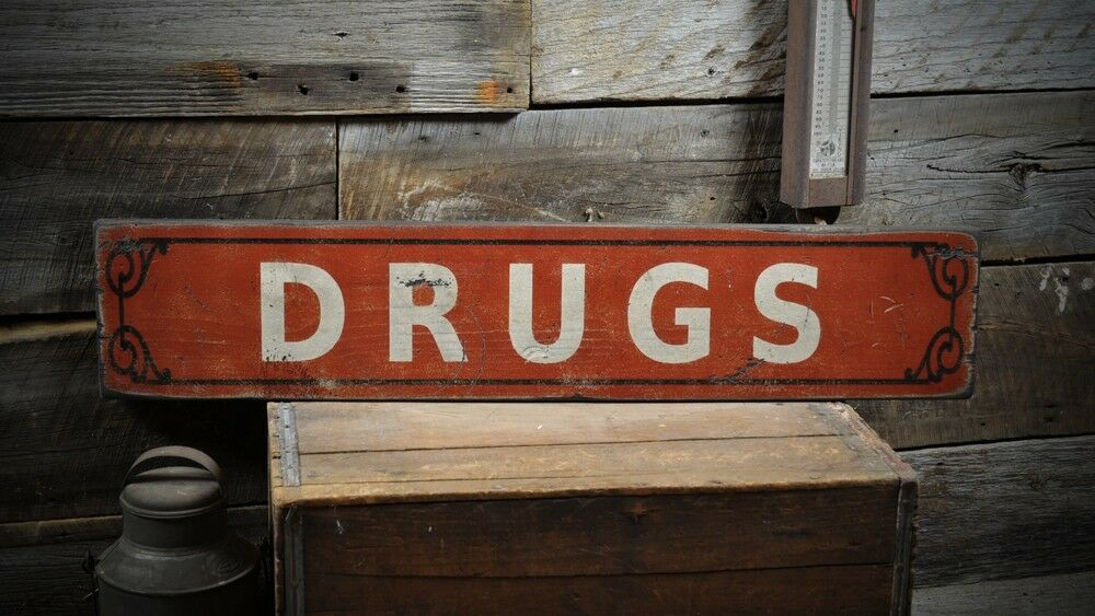 Drugs   Pharmacy Sign - Primitive Rustic Hand Made Vintage Wooden ENS1000290