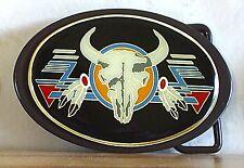 Gürtelschnalle Stierkopf Feder Longhorn Bullriding Rodeo Texas Belt Buckle