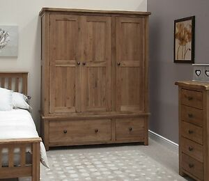Tilson Solid Oak Bedroom Furniture Large Triple Wardrobe