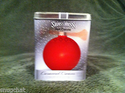 Collectible Swiss Miss Hot Cocoa Caramel Cream Gray Tin Red Ornament Pattern