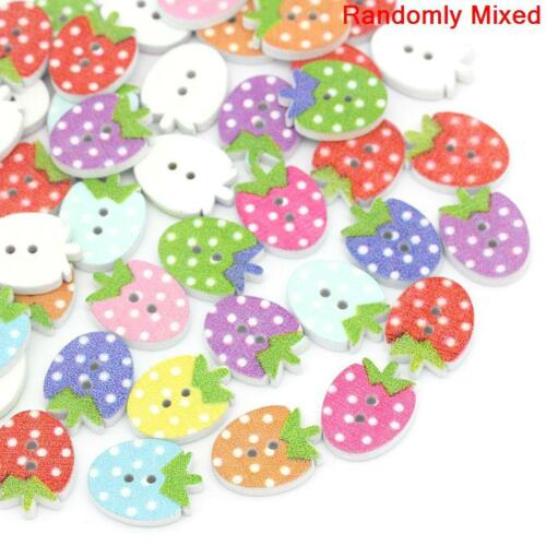 UK 84E 30 POLKA DOT STRAWBERRY WOOD BUTTONS 12mm Crafts~Sewing~Cards~Jams