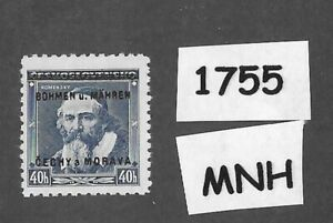 1755-MNH-1939-Overprint-stamp-40-Hal-BaM-Protectorate-Third-Reich-occupation