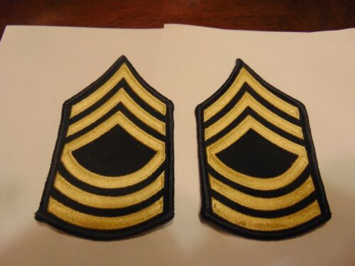 MILITARY PATCH SET OF 2 US ARMY MASTER SERGEANT SEW ON RANK FOR DRESS BLUES