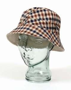 eafce812678 Aquascutum Reversible Bucket Hat in Classic Club Check   Light Beige ...