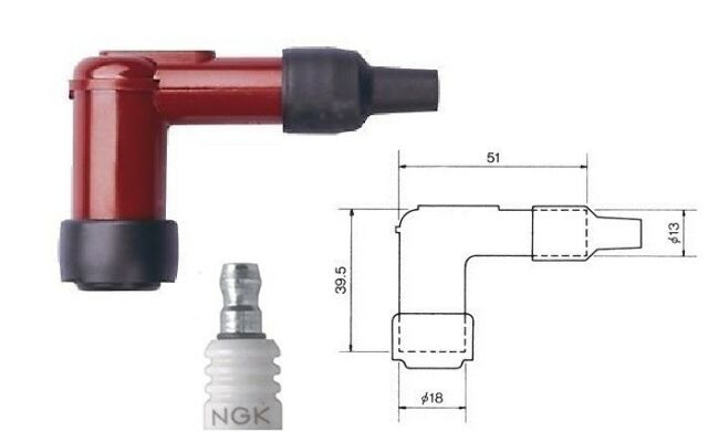 NGK Spark Plug Cap LB05E-R Resistor Cover (Red) 90∫ LB05ER (8898)