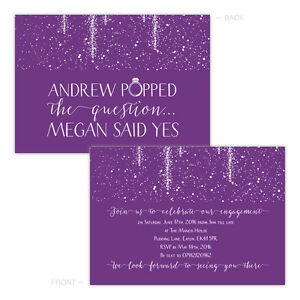 Personalised-engagement-party-invitations-PURPLE-SPARKLE-POP-FREE-ENVELOPES-amp-DR
