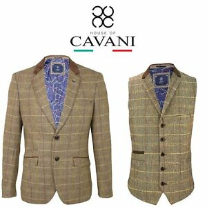 Romantisch Mens Cavani Check Formal Wool Mix Blend 2 Piece Suit Wedding Blazer Waistcoat