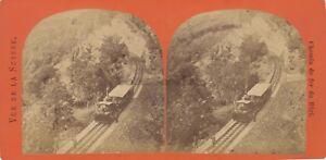 Suisse Chemin Da Ferro Del Rigi Stereo Vintage Albumina Ca 1870