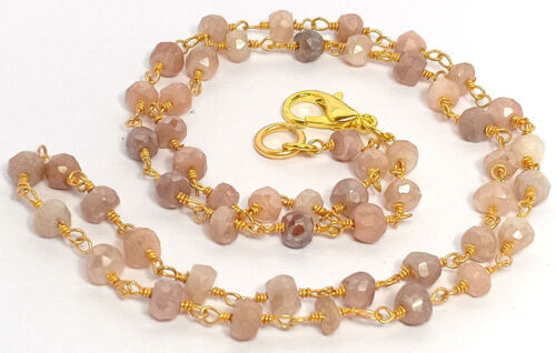 3-4MM Natural Peach Moonstone Beads Gold Plated Rosary Chain Gemstone Necklace