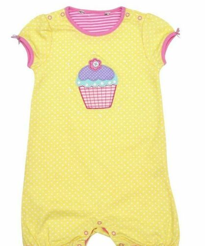 Ex John Lewis Girls Yellow Cupcake Cotton Romper Bodysuit Vest Age 3//6  Months