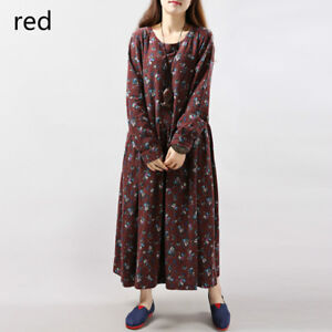 Lady-Cotton-Linen-Shirt-Dress-Ethnic-Floral-Pleated-A-Line-Long-Sleeve-Dress-New