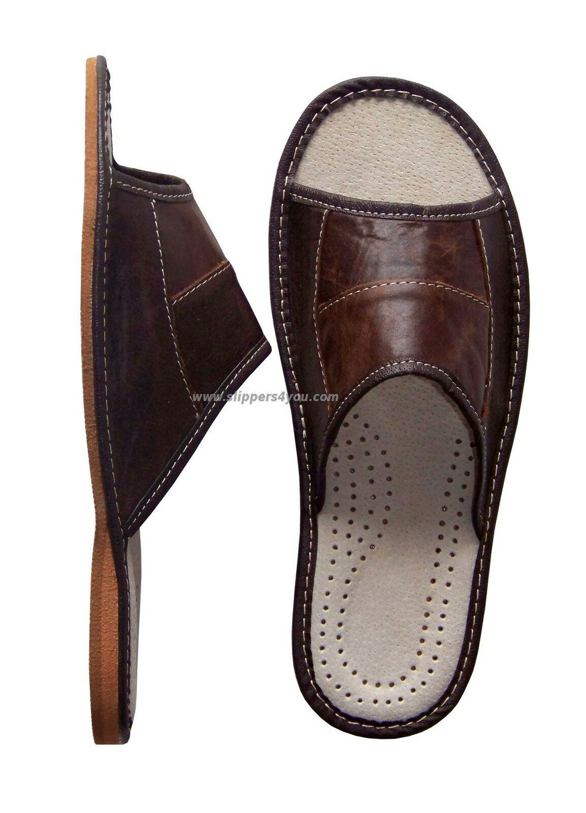 MEN'S SHOES LEATHER SLIPPERS SHOES MEN'S MULES BROWN SLIP ON UK SIZE 6-11 SALE OPEN PEEP TOE 49417a