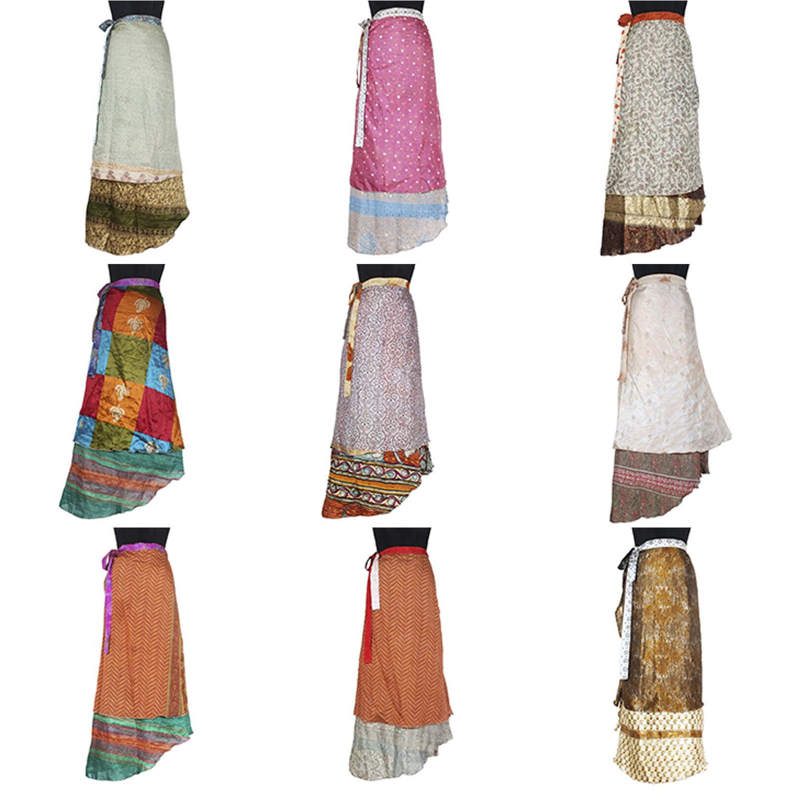 10 Pcs Mix Skirts Indian Bohemian Multi Dress Vintage Silk Sari Skirt Magic