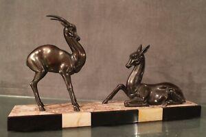 Details zu Skulptur Metall Patiniert Im Antilope & Reh Terrasse Marmor Art  Déco